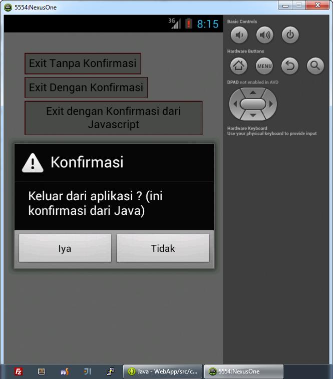 Konfirmasi WebView Java Interface